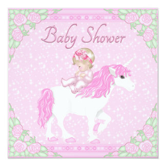 Baby, Unicorn and Roses Pink Baby Shower 5.25x5.25 Square Paper Invitation Card