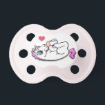 """Baby unicorn feeding time - Pink Girl - Pacifier<br><div class=""""desc"""">Cute baby unicorn laying on her back enjoying a baby bottle full of milk.</div>"""