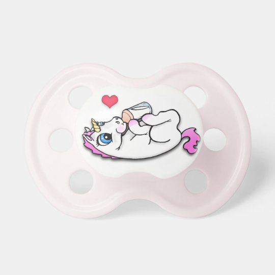 Baby Unicorn Feeding Time Pink Girl Pacifier Zazzle Com