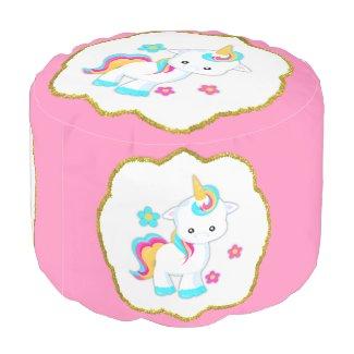 Baby Unicorn on Pink Pouf