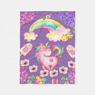 Baby Unicorn playing  garden Fleece Blanket, Baby