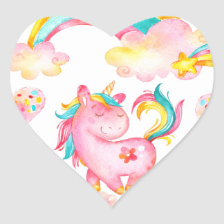 Baby Unicorn playing  garden unique gift Heart Sticker