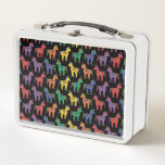 """Baby Unicorns Multicolored on Black Metal Lunchbox<br><div class=""""desc"""">Fun metal lunchbox with a pattern of rainbow colored unicorns on a black background.</div>"""