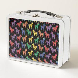 Baby Unicorns Multicolored on Black Metal Lunchbox
