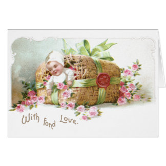Baby Valentine with Pink Roses Card