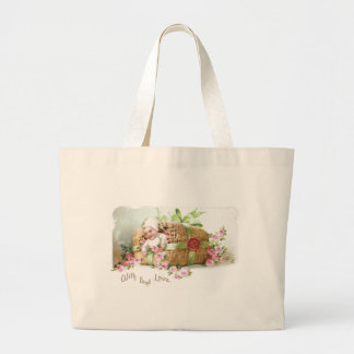 Baby Valentine with Pink Roses Large Tote Bag