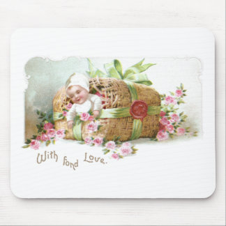 Baby Valentine with Pink Roses Mouse Pad