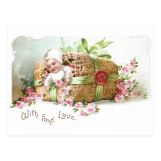 Baby Valentine with Pink Roses Postcard
