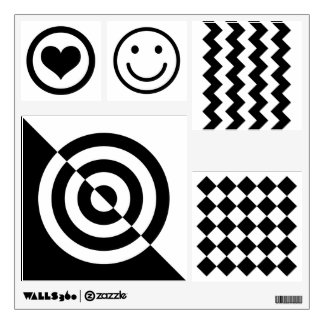 Baby visual stimulation, black white shape pattern wall sticker