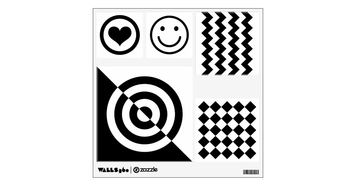 Baby visual stimulation black white shape pattern wall - Baby shapes black and white ...