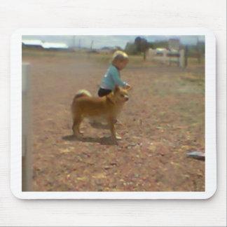Baby walking dog mouse pad