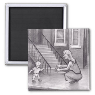 Baby Walking First Steps to Mother Refrigerator Magnets