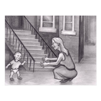 Baby Walking First Steps to Mother Postcard