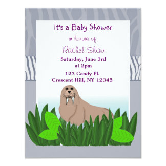"Baby Walrus Baby Shower Invitation 4.25"" X 5.5"" Invitation Card"