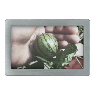 Baby watermelon in hand fruit picture rectangular belt buckle