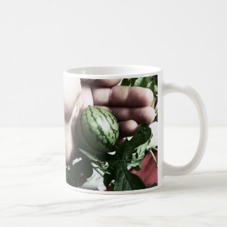Baby watermelon in hand fruit picture coffee mug
