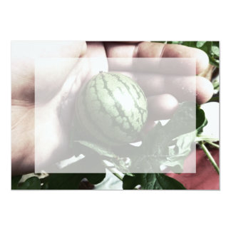 Baby watermelon in hand fruit picture custom invites
