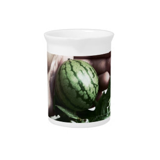 Baby watermelon in hand fruit picture drink pitchers