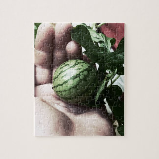Baby watermelon in hand fruit picture jigsaw puzzles