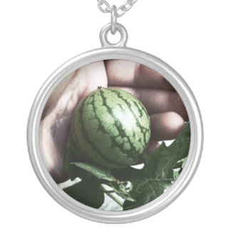 Baby watermelon in hand fruit picture silver plated necklace