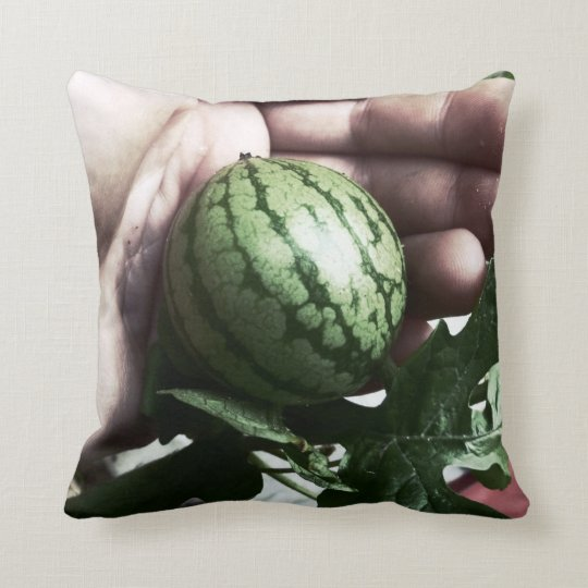 Baby watermelon in hand fruit picture throw pillow