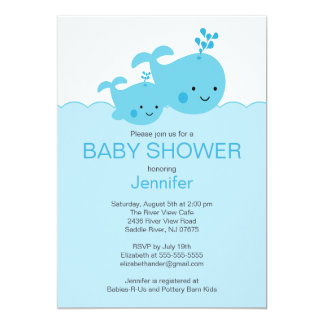 Baby Whale Baby Shower Invitations