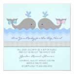 Baby Whale Gender Reveal 5.25x5.25 Square Paper Invitation Card