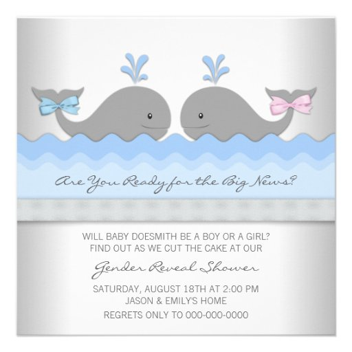 baby whale gender reveal shower square paper invitation card