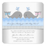 Baby Whale Gender Reveal Shower 5.25x5.25 Square Paper Invitation Card