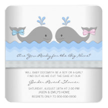 """Baby Whale Gender Reveal Shower 5.25"""" Square Invitation Card"""
