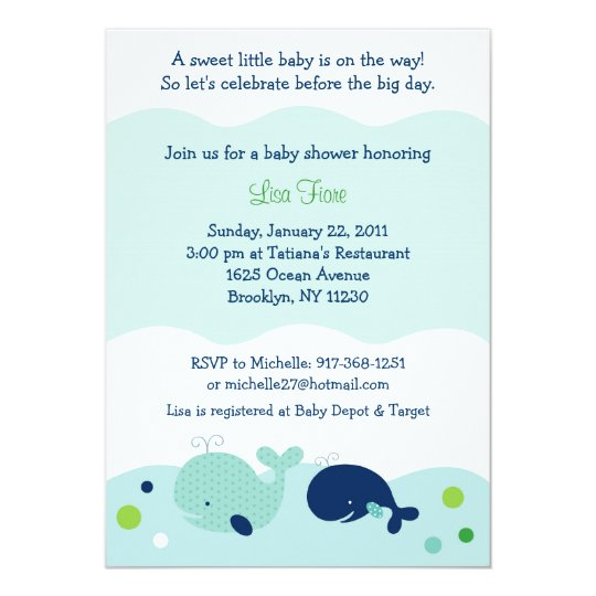 Baby Whale Nautical Baby Shower Invitations