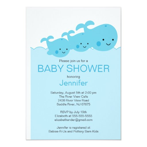 Baby Whales Twin Baby Shower Invitations