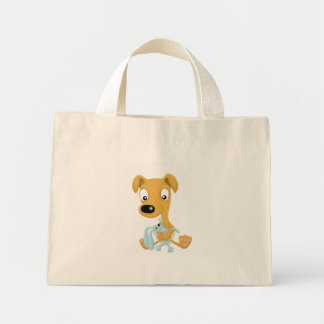 baby whippet and cuddly bunny canvas bag