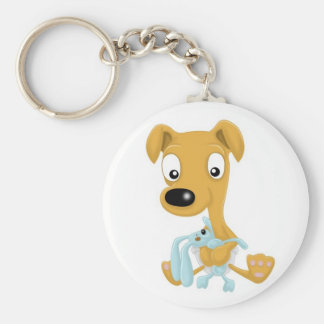 baby whippet and cuddly bunny basic round button keychain