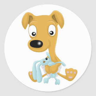 baby whippet and cuddly bunny classic round sticker
