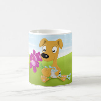 baby whippet and flowers coffee mug