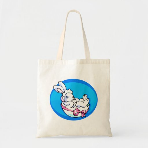 baby white bunny in egg blue oval.png budget tote bag