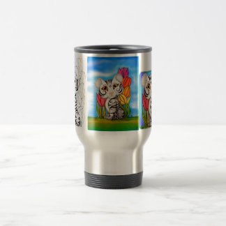 Baby White Cub in Tulips 15 Oz Stainless Steel Travel Mug