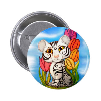 Baby White Cub in Tulips Pins