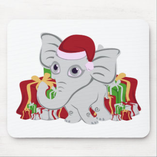 Baby White Elephant In Santa Hat With Presents Mouse Pad