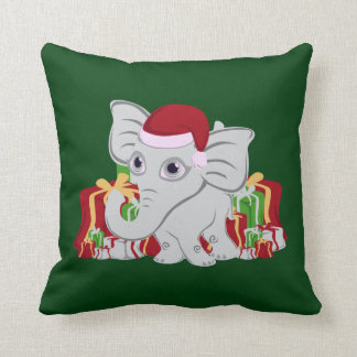 Baby White Elephant In Santa Hat With Presents Throw Pillow