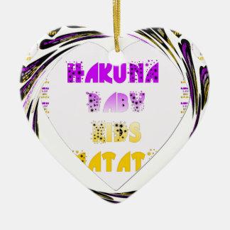 Baby White Hearts Hakuna Matata Baby Kids Design.p Ceramic Ornament