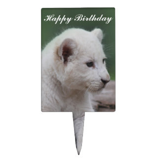 Baby white lion cub 2 cake topper