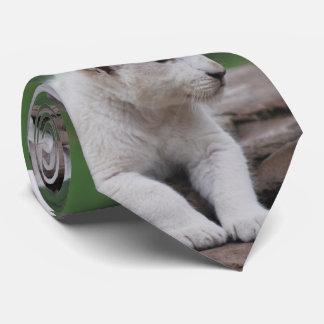 Baby white lion cub 2 neck tie