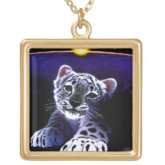 Baby White Tiger Gold Plated Necklace