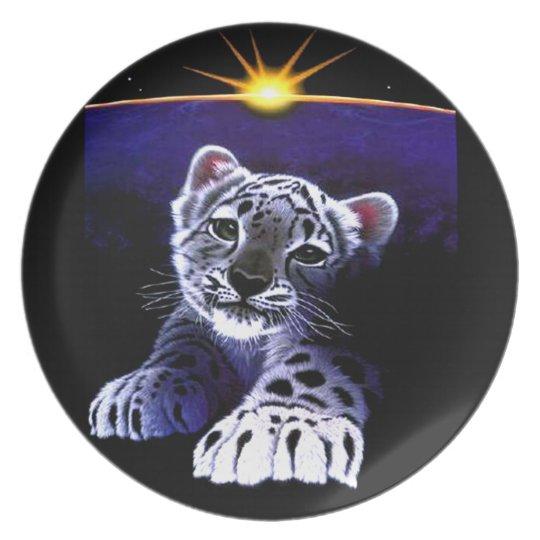 Baby White Tiger Melamine Plate