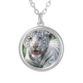 Baby White Tiger Round Pendant Necklace