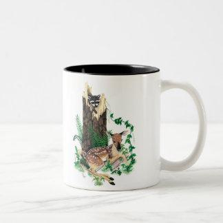 Baby Whitetail Deer Fawn and Raccoon Mug