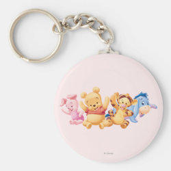 Basic Button Keychain with Super Cute Baby Winnie the Pooh & Friends design
