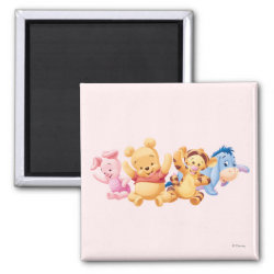 Square Magnet with Super Cute Baby Winnie the Pooh & Friends design